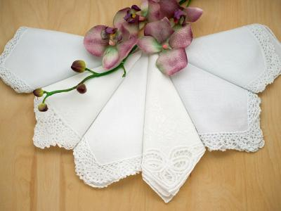 Bridal Set of 6 Different Wedding Handkerchiefs - Set C