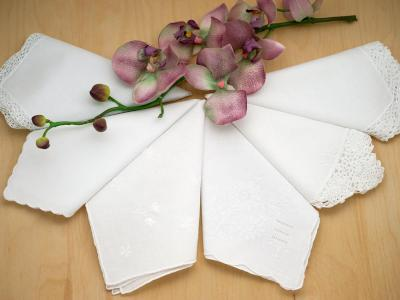 Bridal Set of 6 Different Wedding Handkerchiefs - Set F