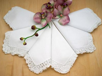 Bridal Set of 6 Different Wedding Handkerchiefs - Set G