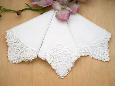 Bridal Set of 3 Different Cluny Lace Wedding Handkerchiefs