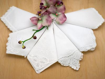 Bridal Set of 6 Different Wedding Handkerchiefs - Set 3A
