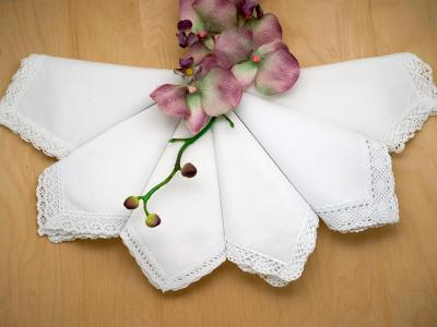 Bridal Set of 6 Different Wedding Handkerchiefs - Set 1A