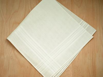 Set of 3 Ivory Woven Mens Handkerchiefs with Thin Satin Stripes