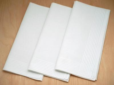 Set of 3 Mens Handkerchiefs with Thin Stripe Border