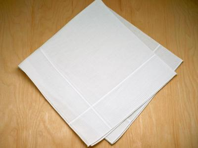 White Striped Mens Linens Handkerchief
