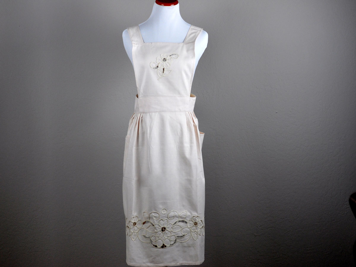 Ecru Floral Cutwork Full Length Apron