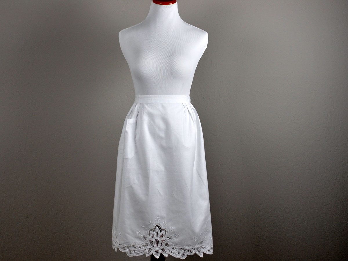 White Cotton Floral Battenburg Half Length Bibless Apron