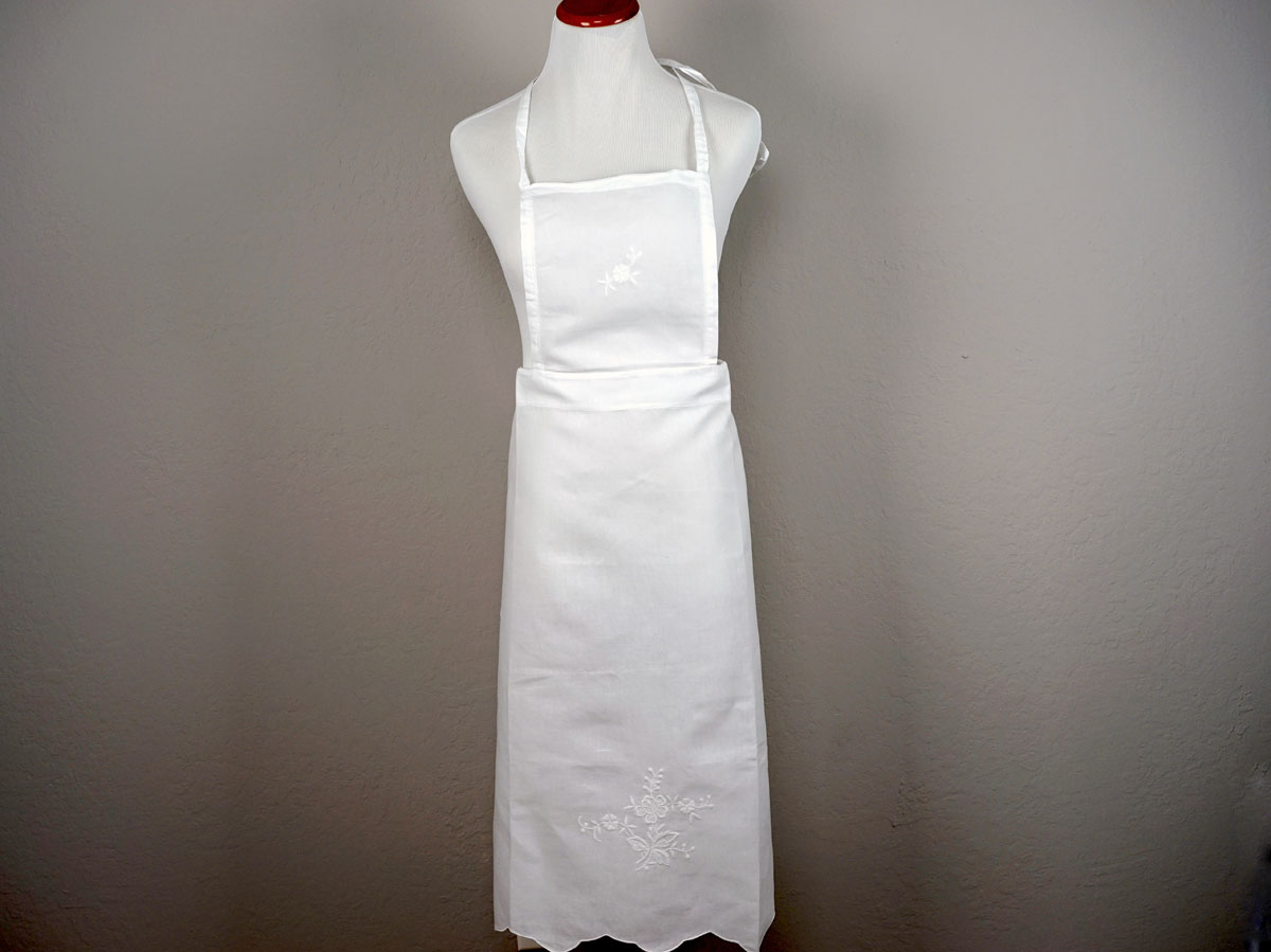 Floral Embroidered Cotton Hostess Apron