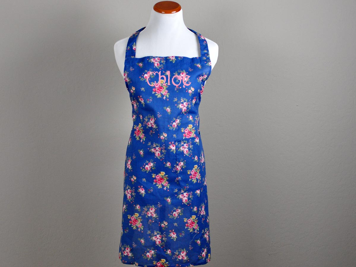 Vintage Inspired French Blue Floral Hostess Apron