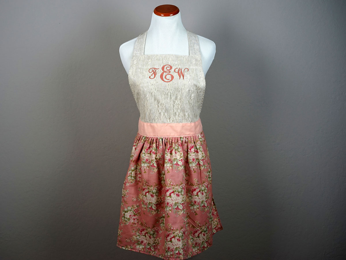 Vintage Inspired Dusty Rose Lace Hostess Apron