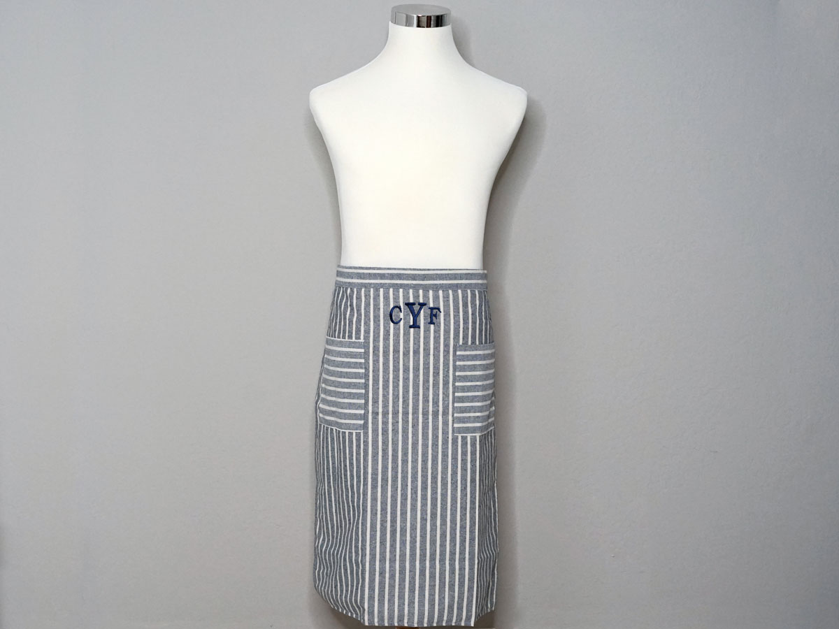 Adult Chambray Striped Half Bistro Striped Apron