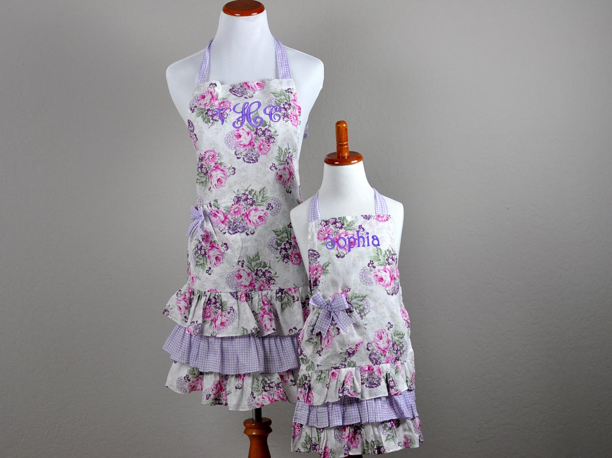 Mother and Daughter Purple and Pink Apron Set