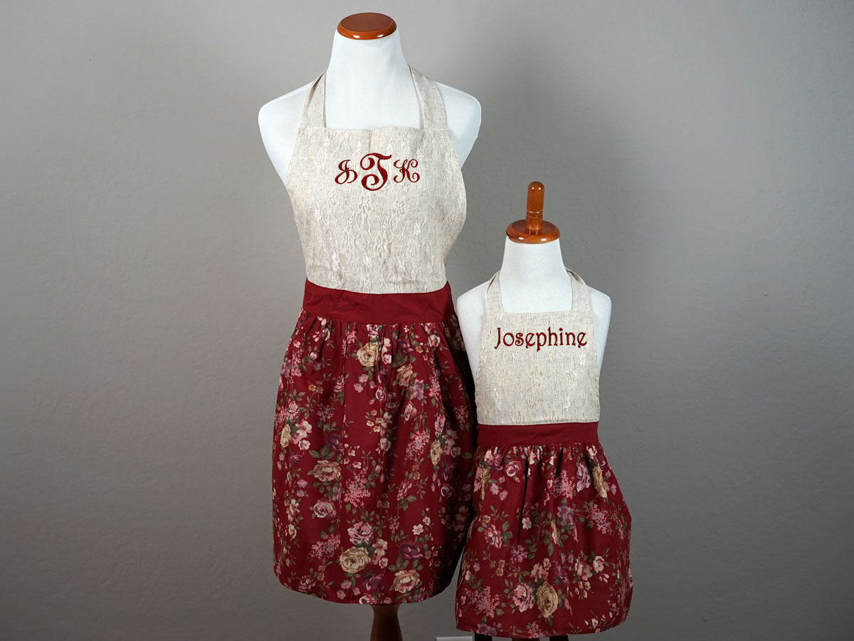 Mother and Daughter Burgundy Floral Lace Apron Set