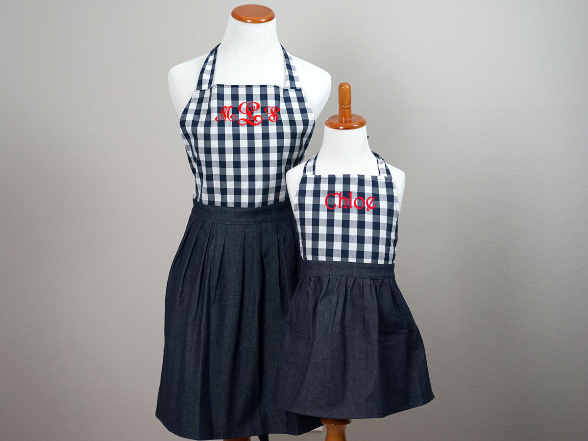 Mother and Daughter Navy Gingham Apron Set