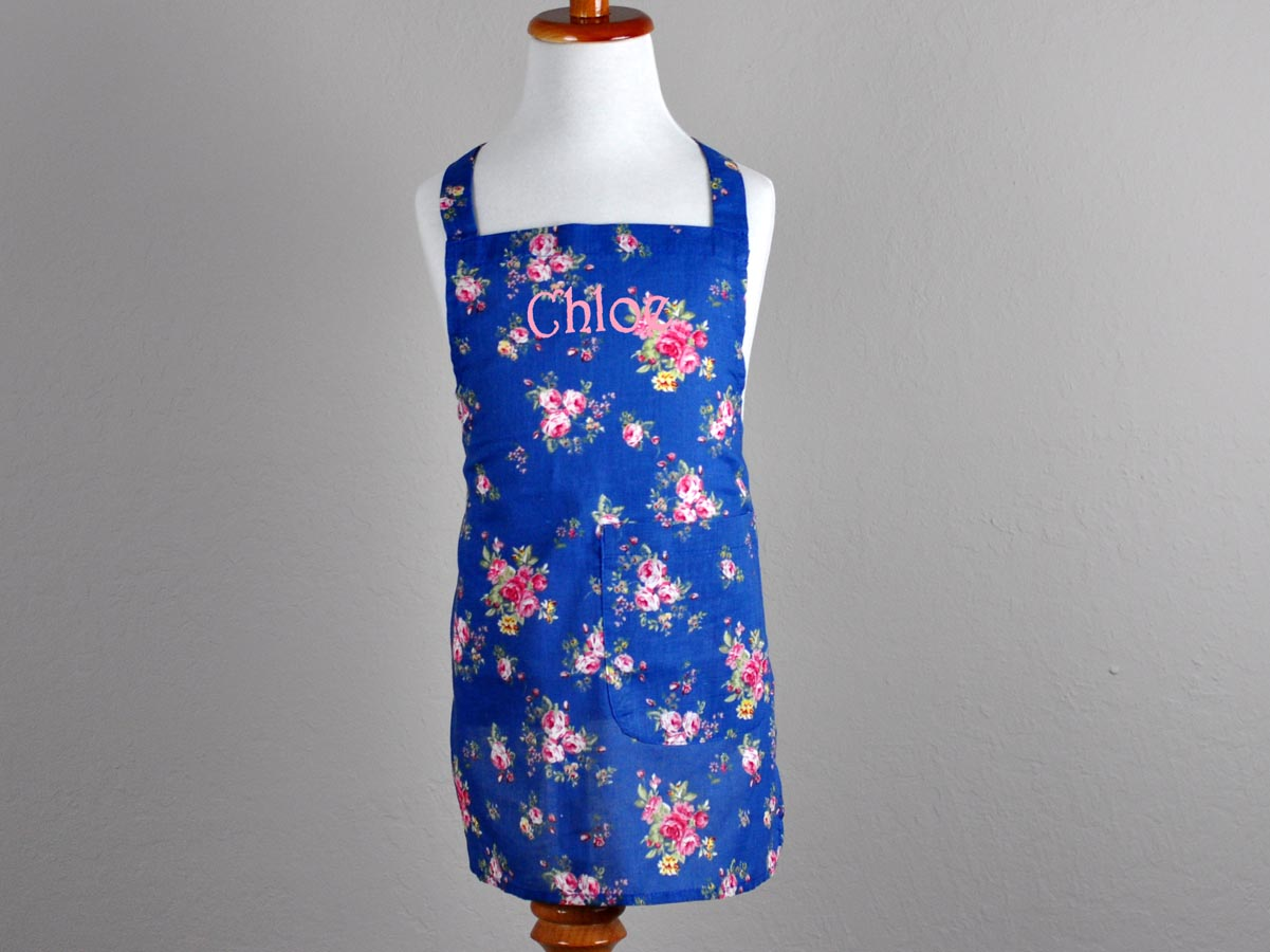 Vintage Inspired Blue Roses Kids Apron