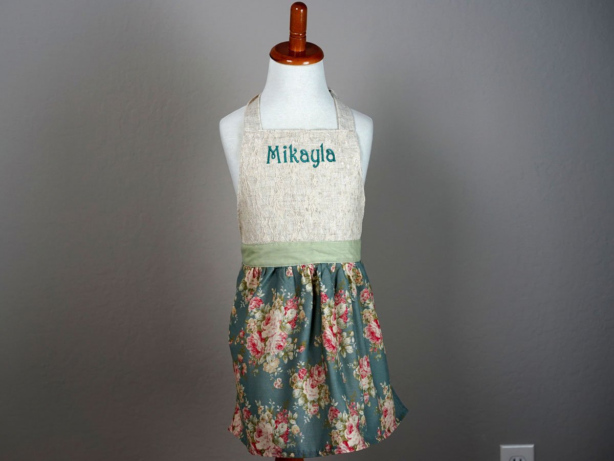 Girls Stormy Blue Floral Apron