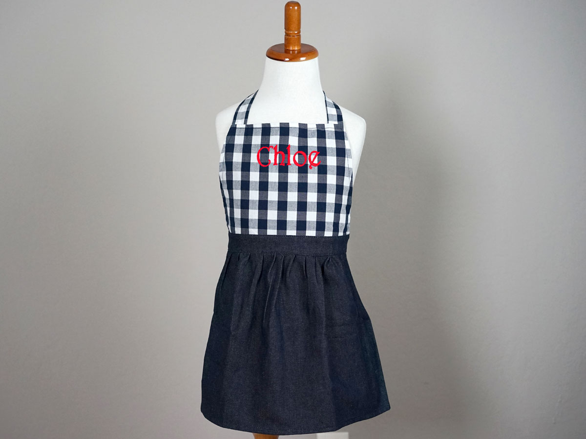 Girls Navy Gingham Denim Apron