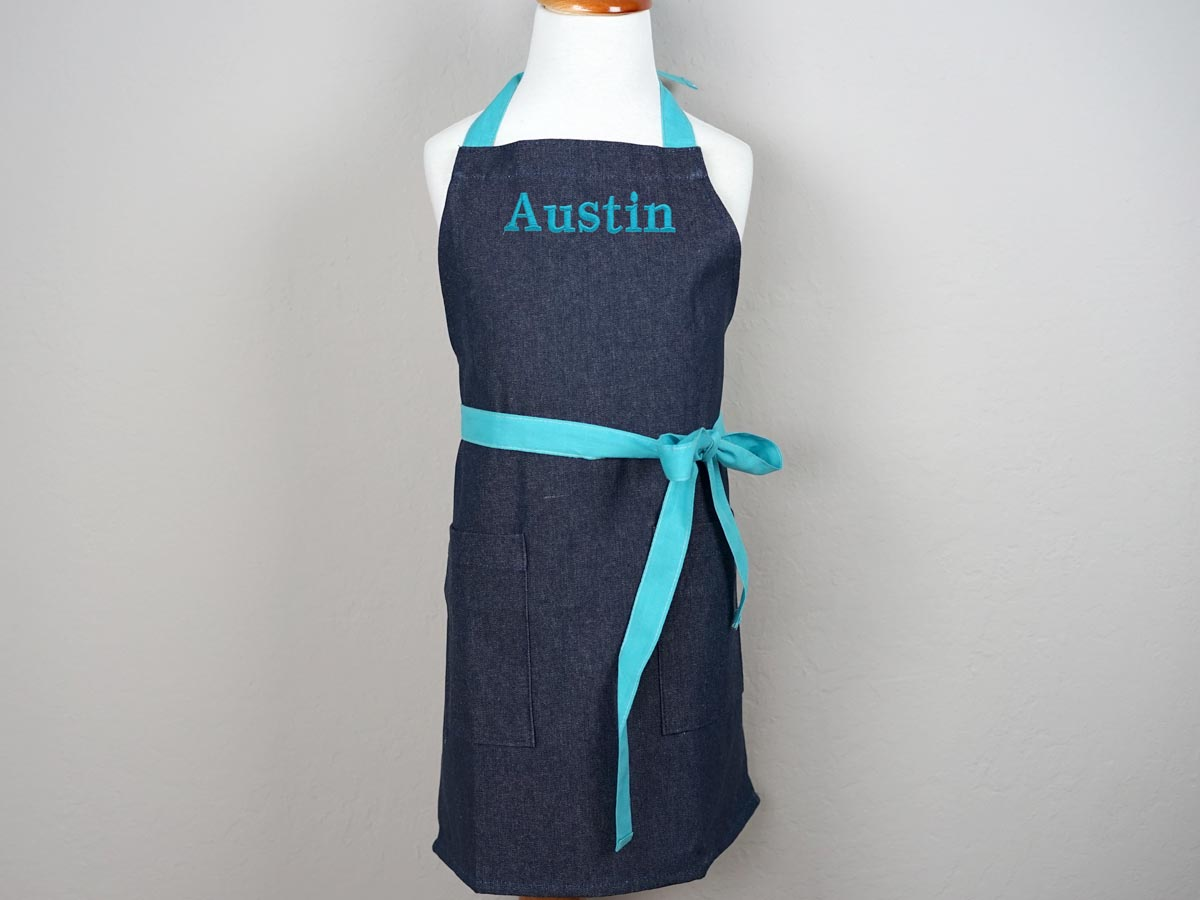 Dark Denim Kids Apron with Teal Ties