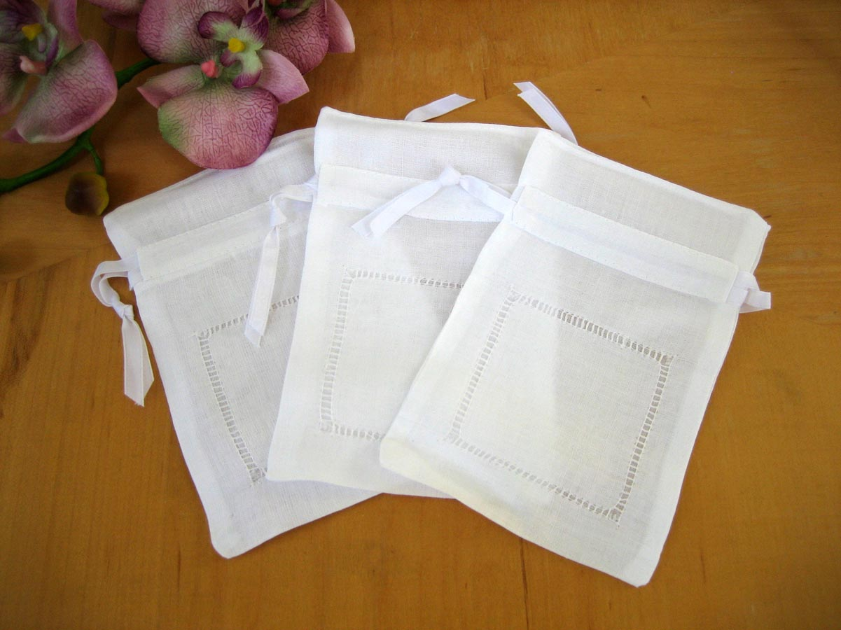 Set of 3 Linen Hemstitched Favor Bags