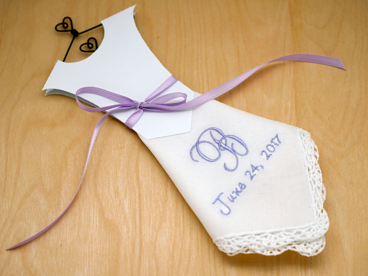 Monogrammed Wedding Dress Hankie Kit 1 Initial/Date Font J
