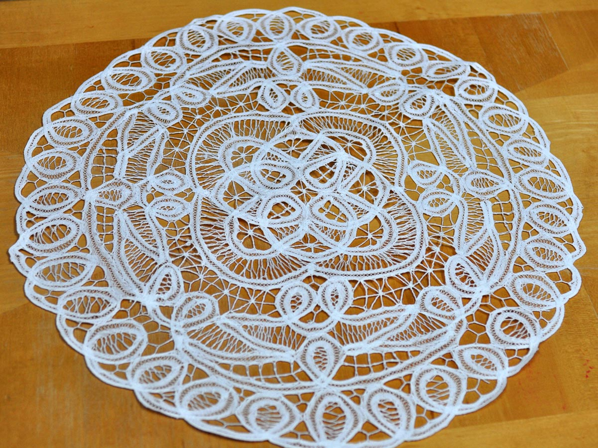 Extra Large White Battenburg Lace Round Doily