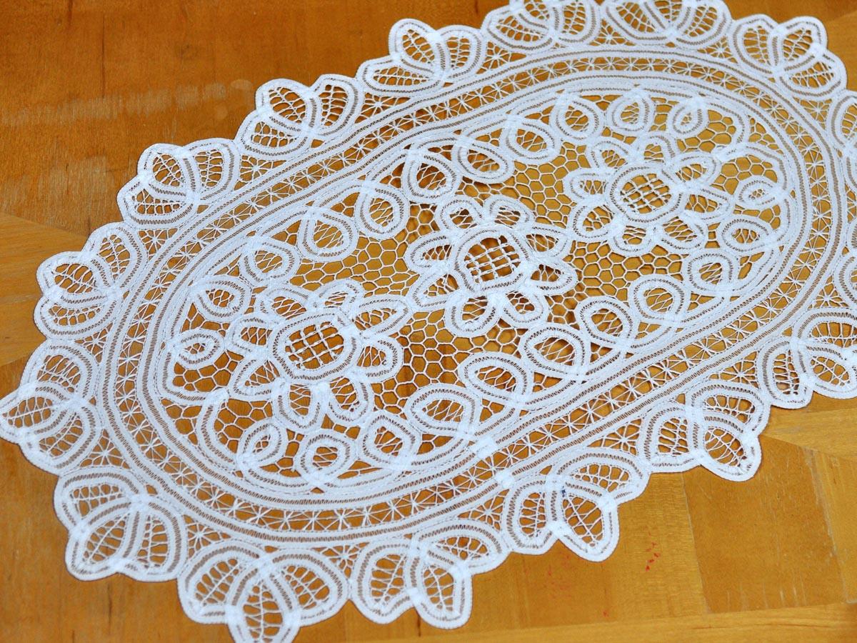 extra large white battenburg lace oval doily