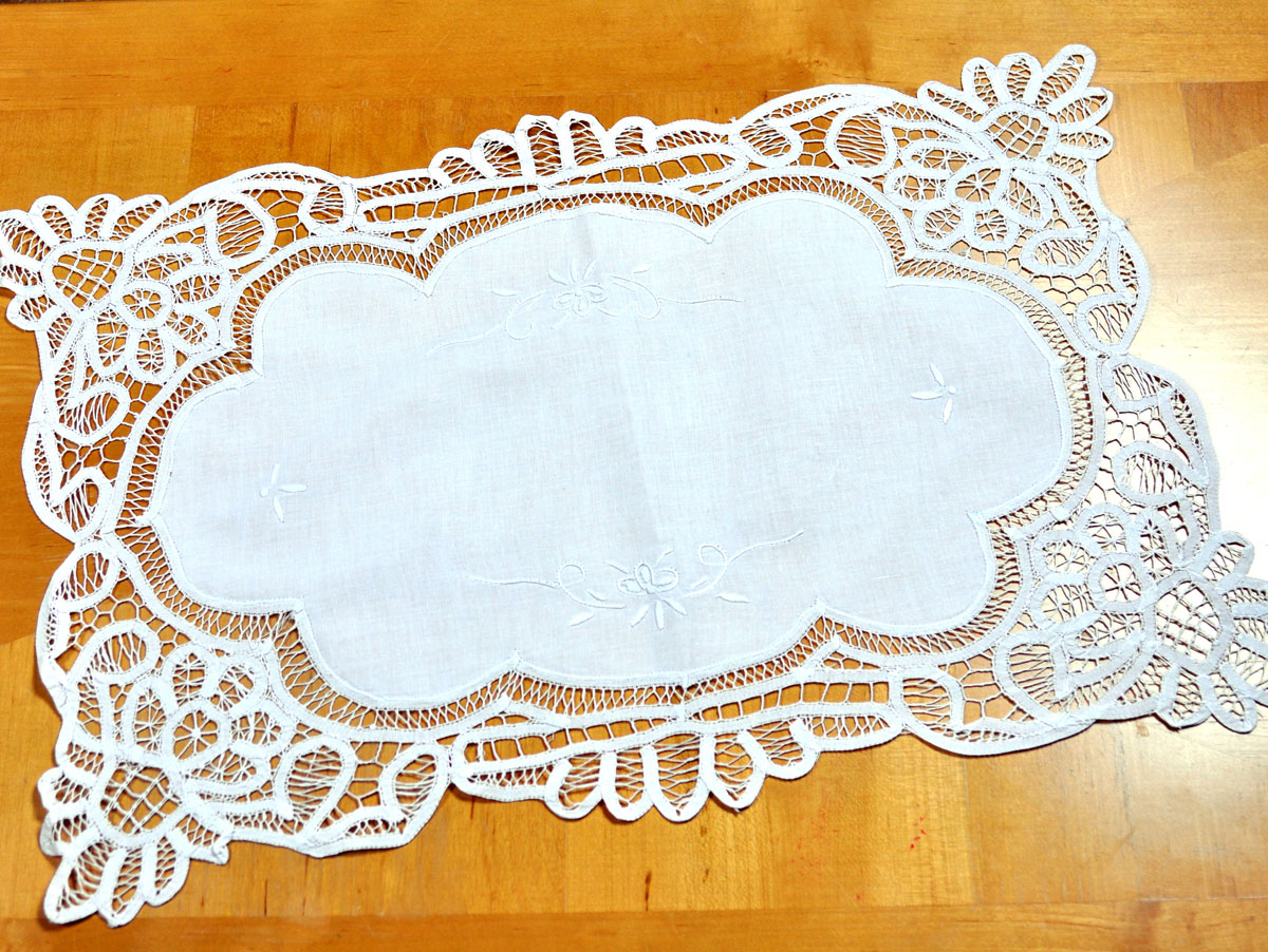 Large White Battenburg Lace Doily/ Tray Cloth