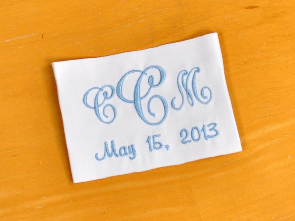 Monogrammed Wedding Dress Label w/ 3 Initials and Date