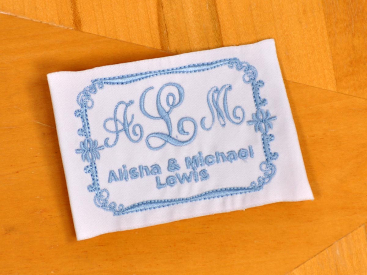 Personalized Wedding Dress Label w/ Initials and Names