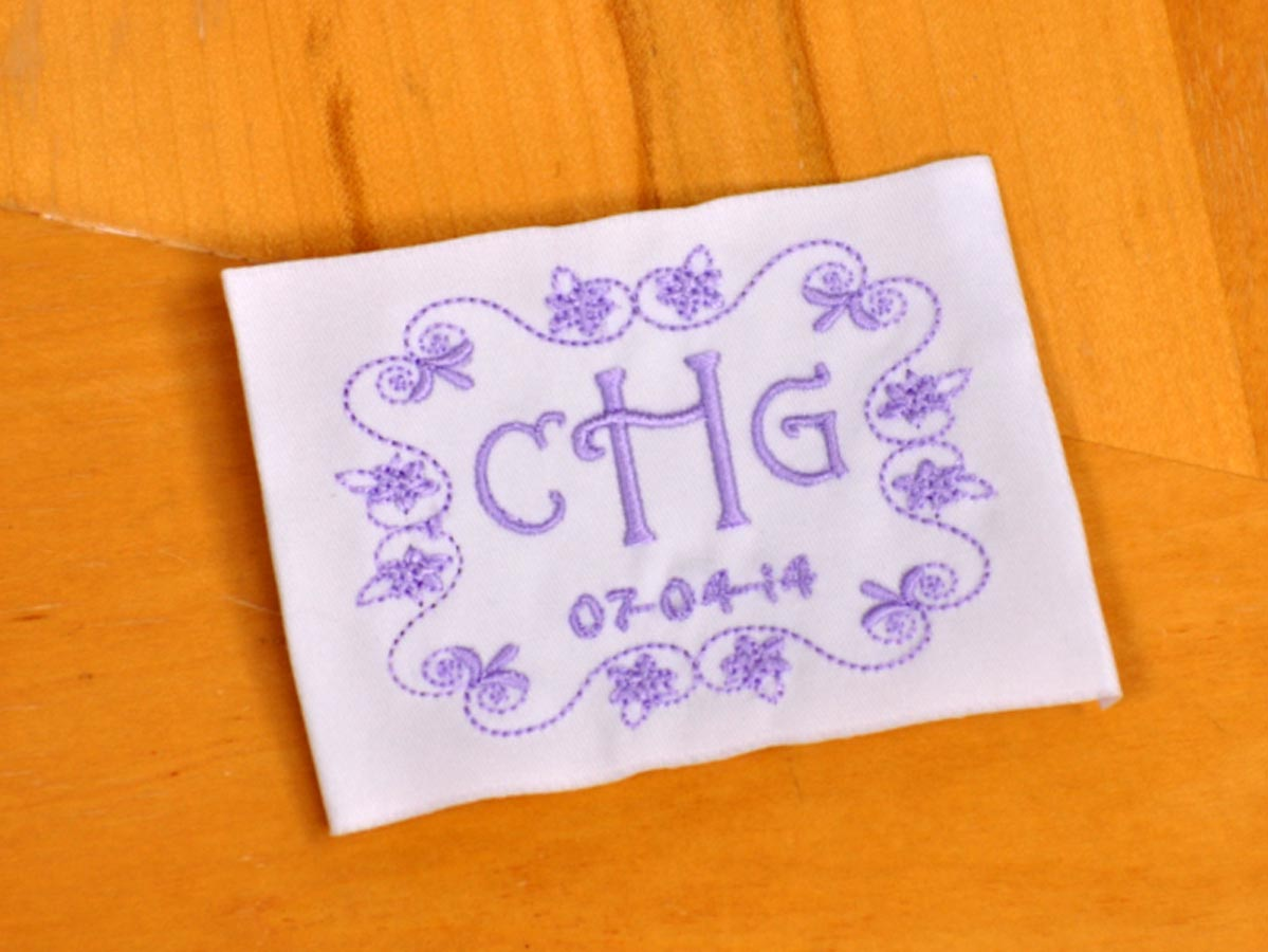 Daisy Monogrammed Wedding Dress Label w/ 3 Initials and Date