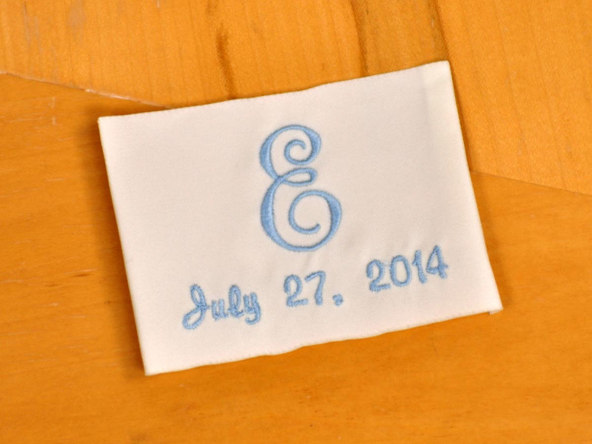 Monogrammed Wedding Dress Label w/ 1 Initial and Date