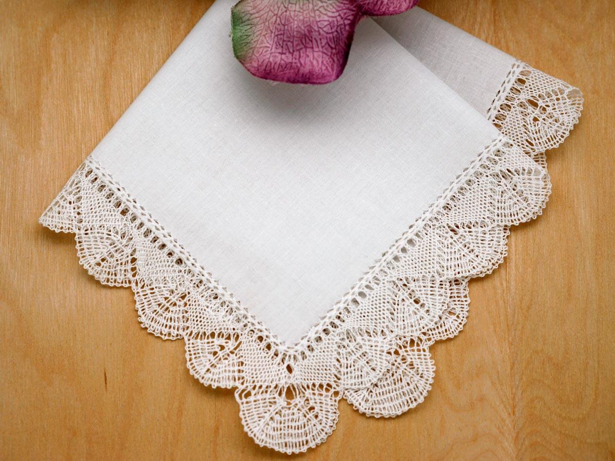 Queen Anne Bobbin Lace Ladies Handkerchief