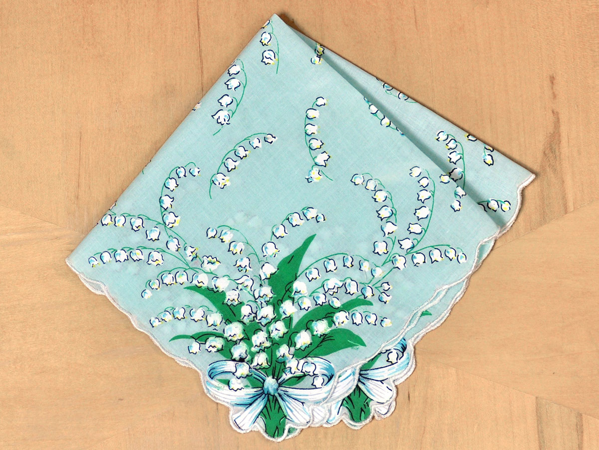 Vintage Inspired Blue Lily of the Valley Print Hankie