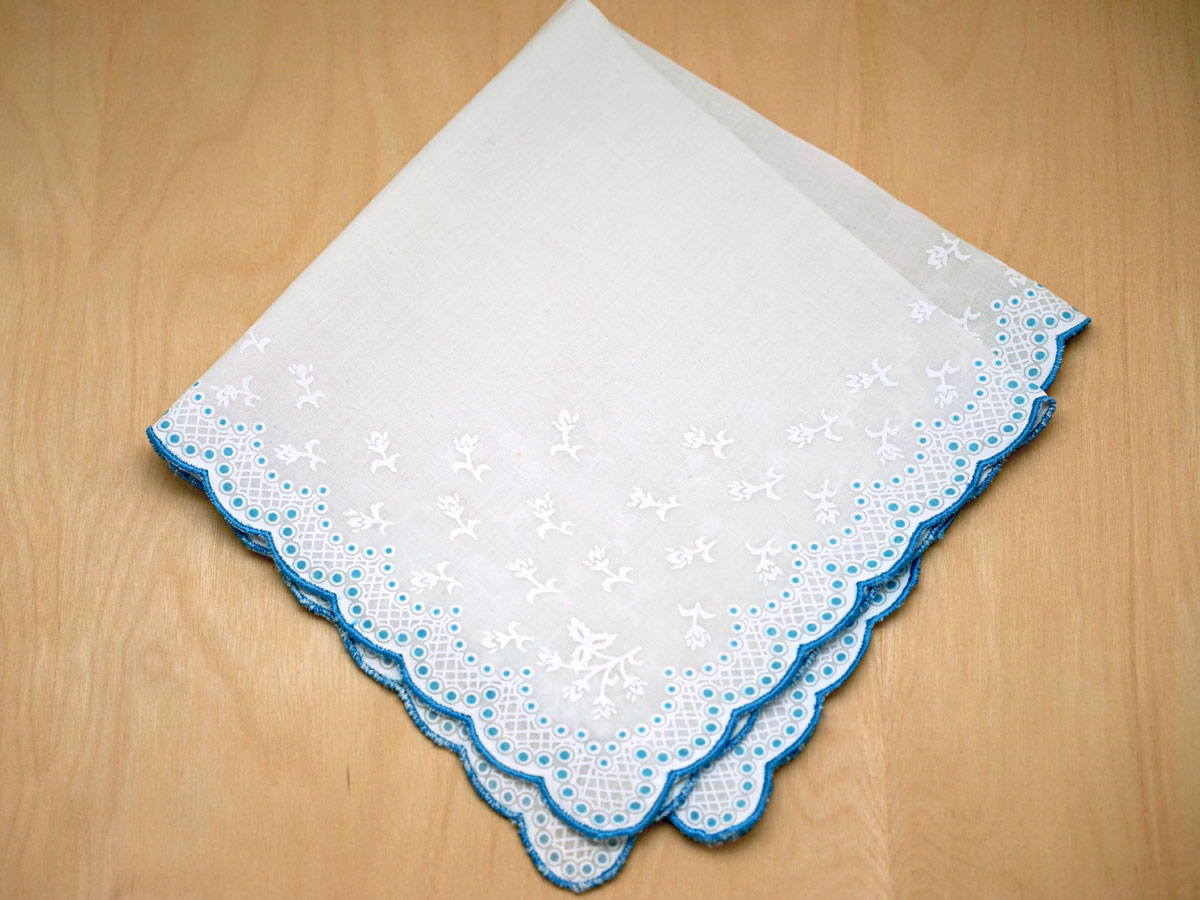 Vintage Inspired Something Blue Bridal Print Hankie