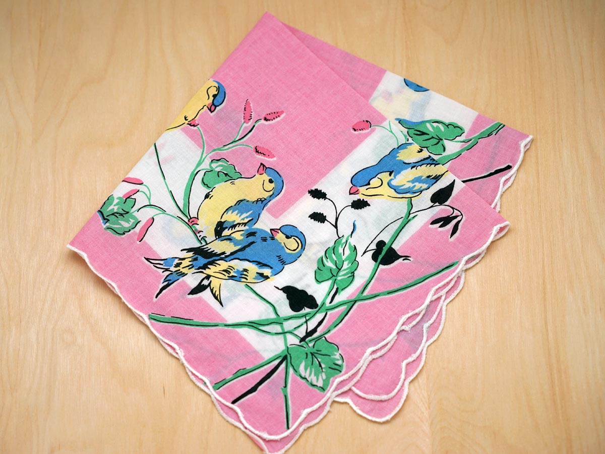 Vintage Inspired Pink Print Hankie w/ Blue Finches