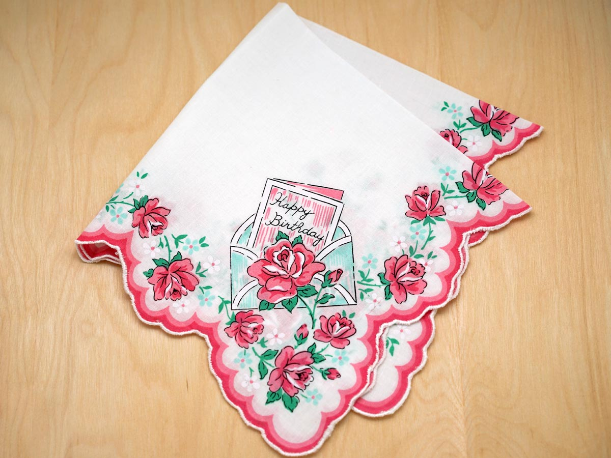 Vintage Inspired Roses Happy Birthday Print Hankie