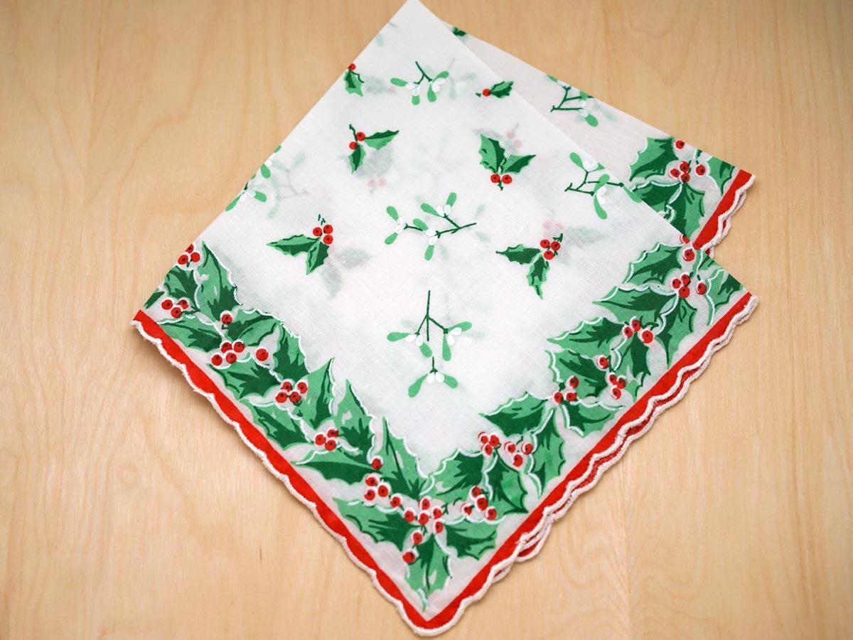 Vintage Inspired Christmas Garland Print Hankie