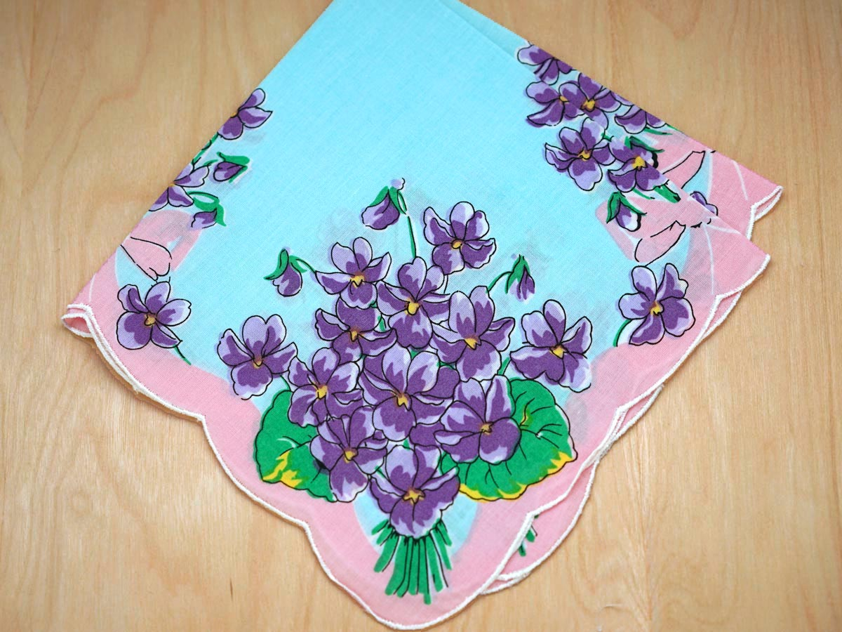Vintage Inspired Bouquet of Violets Print Hankie
