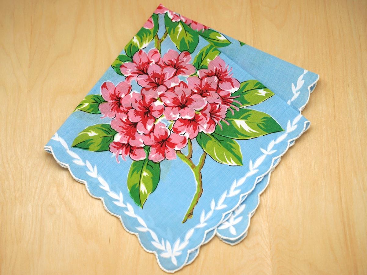Vintage inspired bright blue azaleas print hankie