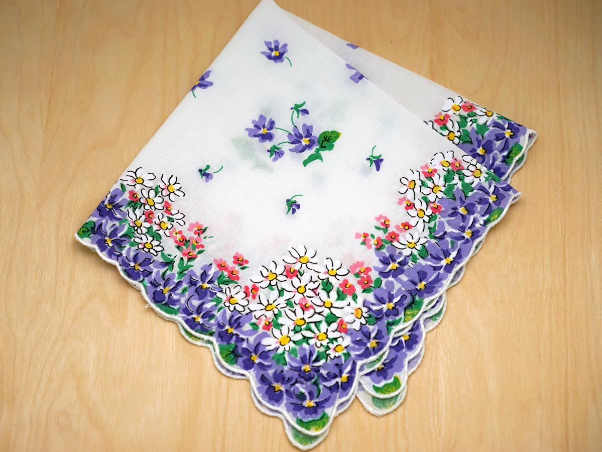 Vintage Inspired Purple Pansy Printed Hankie