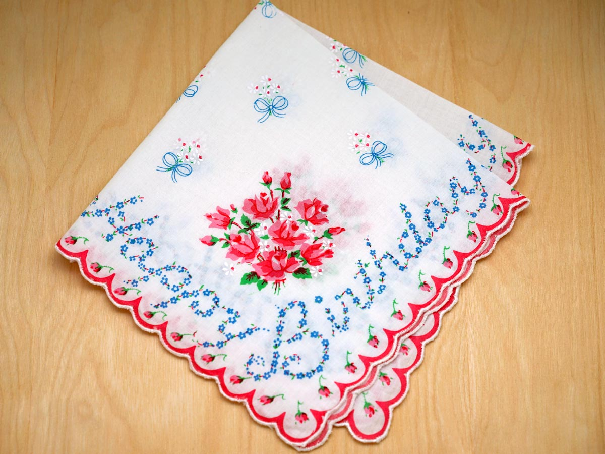 Vintage Inspired Happy Birthday Print Hankie