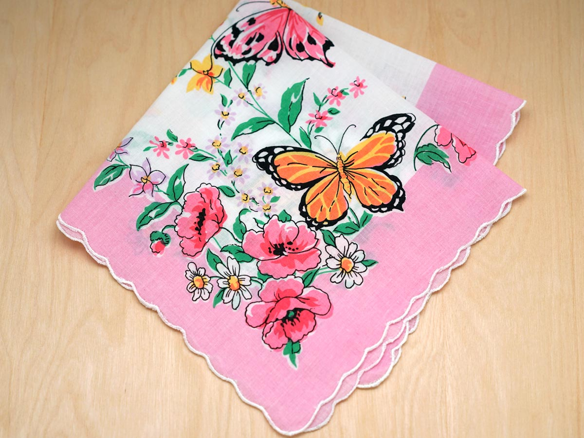 Vintage Inspired Butterfly Printed Handkerchief