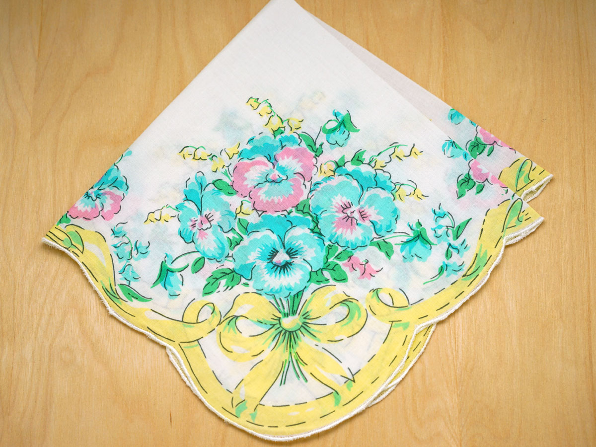 Vintage Inspired Yellow Pansies Print Hankie