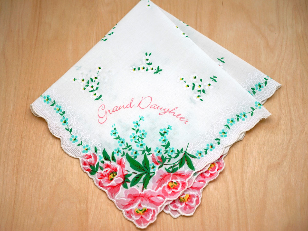 Vintage Inspired Grand Daughter Print Hankie