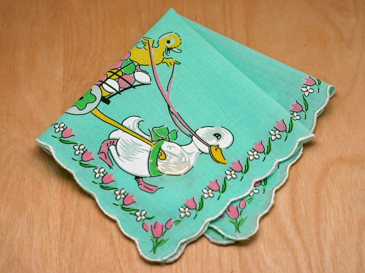 Vintage Inspired Childrens Easter Ducklings Print Hankie