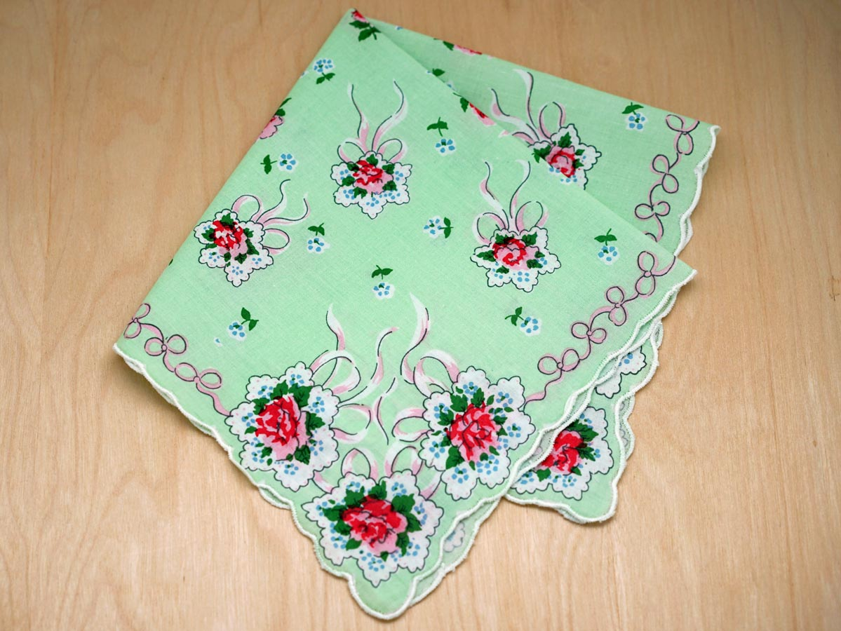Vintage Inspired Green Wedding Bouquet Print Hankie