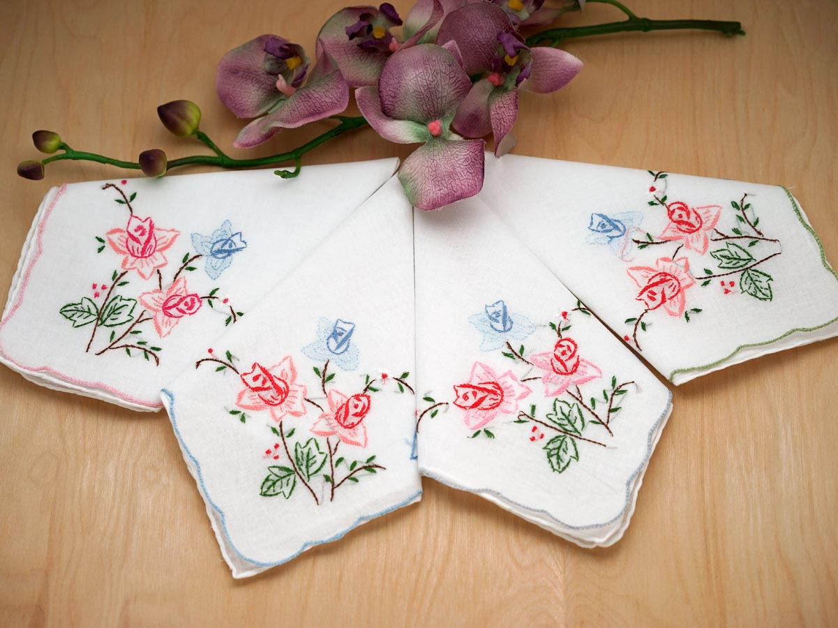 Set of 12 Mix Floral Embroidered Handkerchiefs