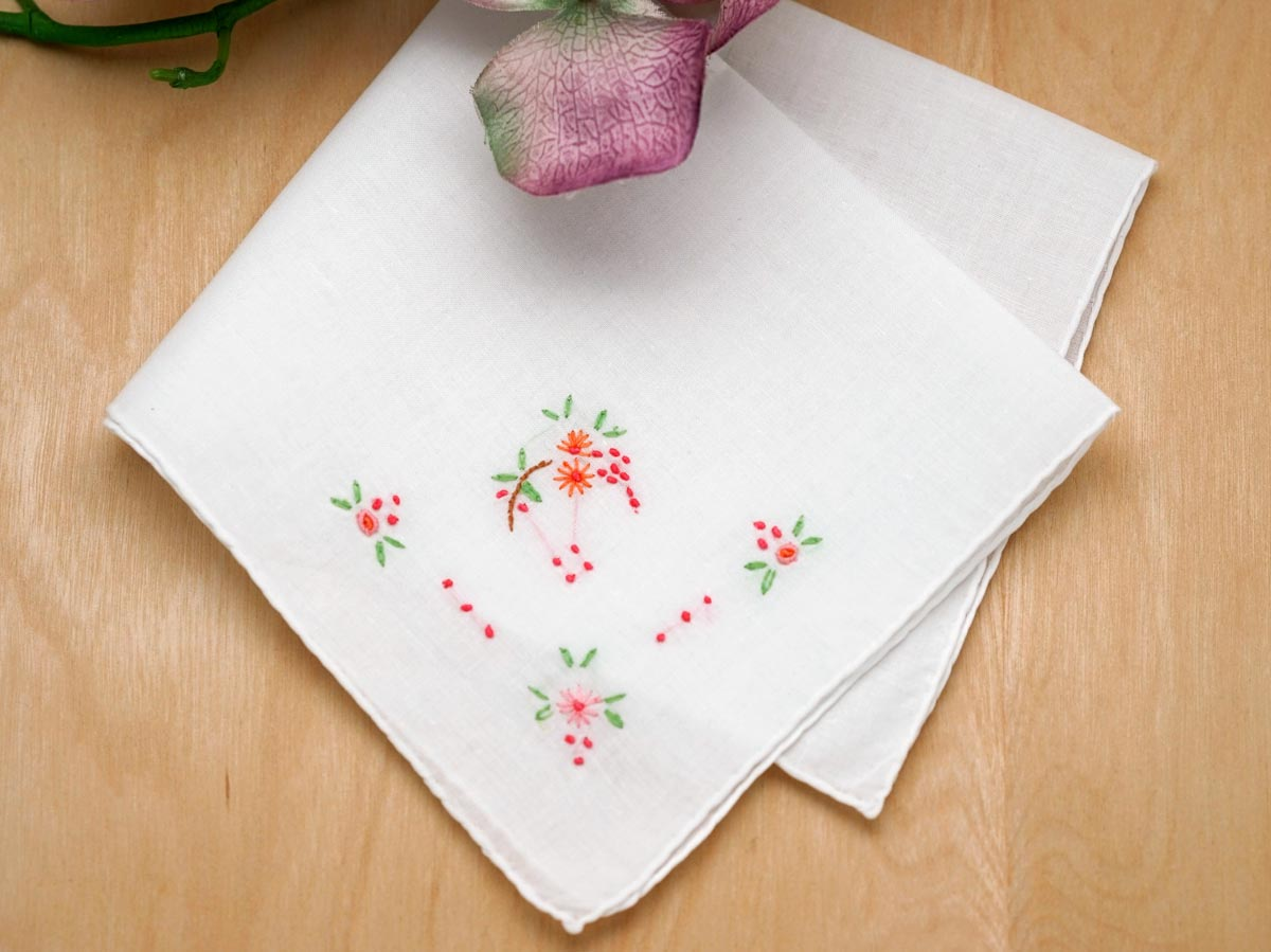 Set of 3 Flower Embroidered Handkerchiefs