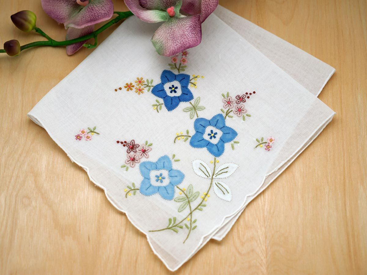 Set of 3 Blue Floral Applique Embroidered Handkerchiefs