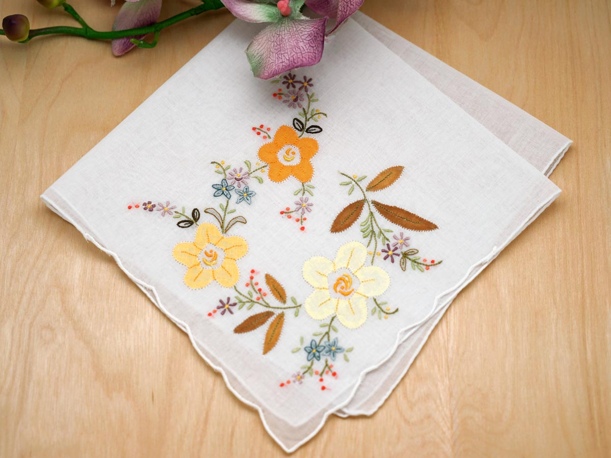 Set Of 3 Yellow Floral Applique Embroidered Handkerchiefs